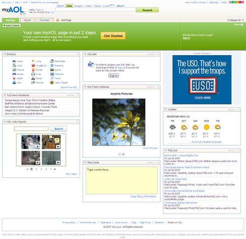 myAOL myPage Screen-shot