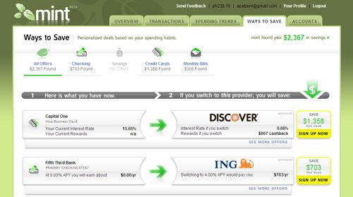 Mint Screen-shot ways to save