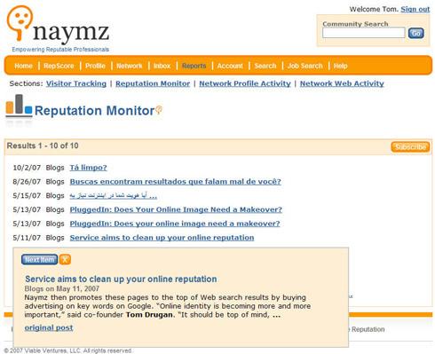 Naymz reputation monitor