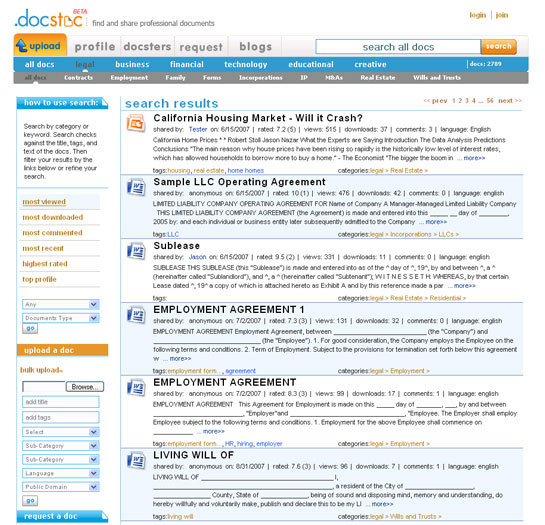 Docstoc search results