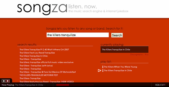 Songza player screen-shot