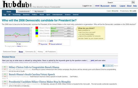 Hubdub screen-shot