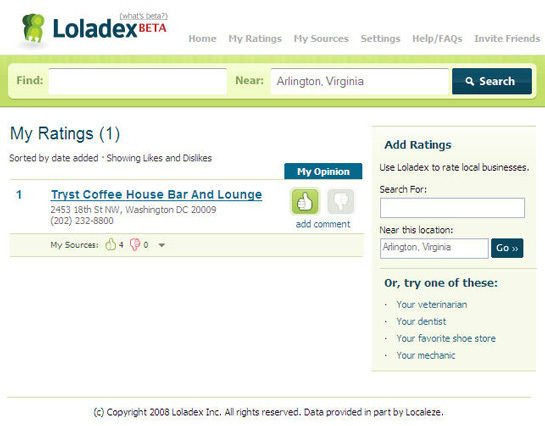 Loladex screen-shot