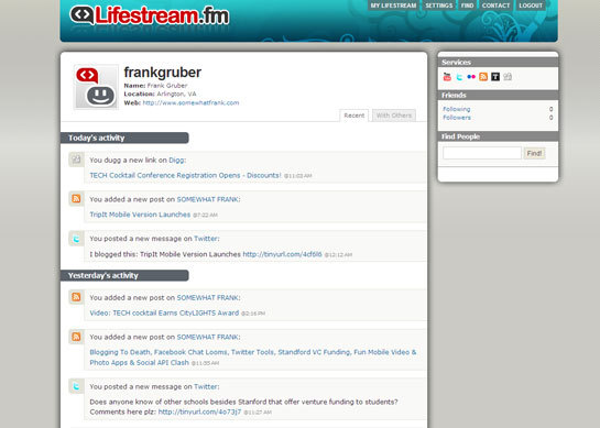 Lifestream.fm screen-shot