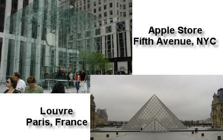 Apple Store on Fifth Ave. NYC and the Louvre in Paris France