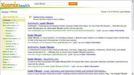 Kosmix health results