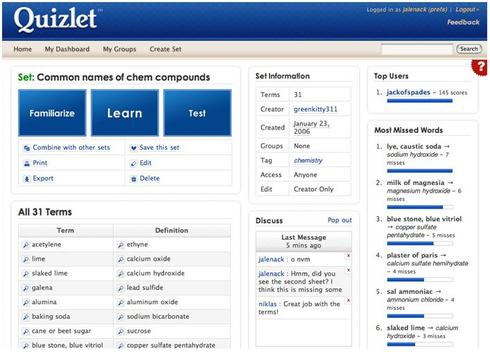 Quizlet screen-shot