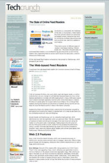 TechCrunch screen-shot of the post on Online Feed Readers by Frank Gruber