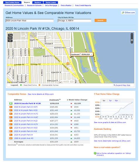 Zillow Yahoo Screen-shot